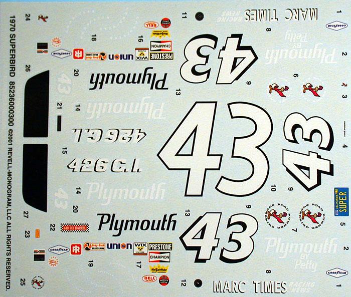 Revell S 1 24 Richard Petty 70 Plymouth Superbird