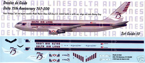 Decales de Guido 1/200 Delta Air Lines 75th Anniversary 767-200